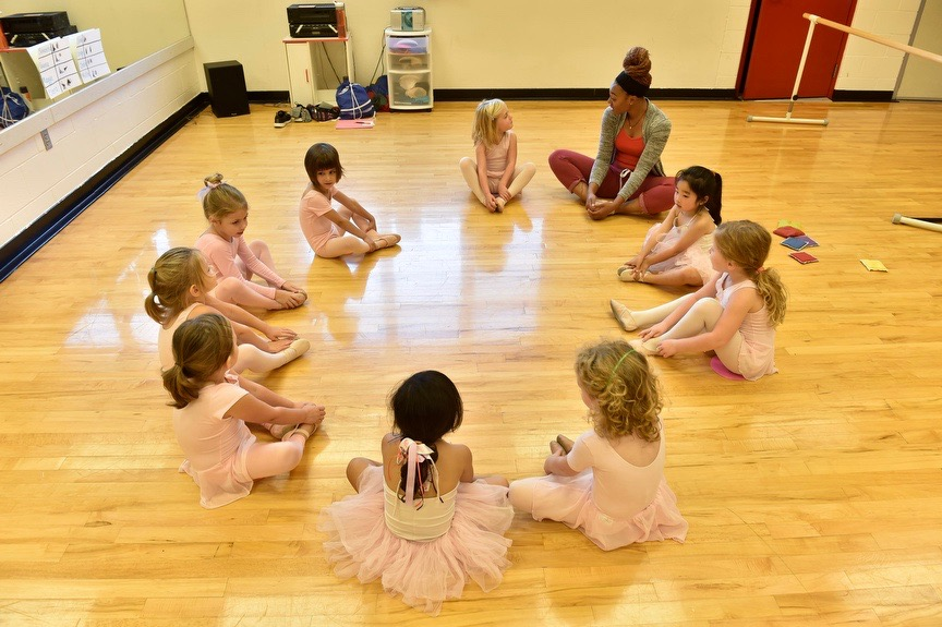 Dance studio with preschoolers in ballet class